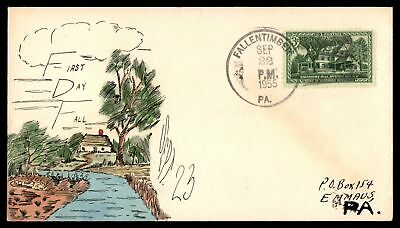 Mayfairstamps Fallen Timber Pennsylvania First Day of Fall Hand Painted 1955 Cov