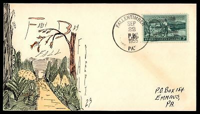 Mayfairstamps Fallentimber Pennsylvania 1955 Sep 22 Hand PAinteD Cover First Fal
