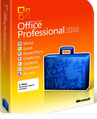 Microsoft Office 2010 Professional 32 & 64 Bit + Licence Key + Pro EXCEL / WORD