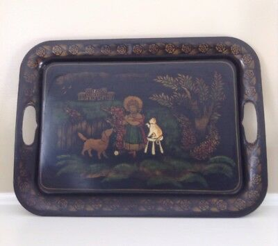 Antique Tole Tray Hand Stenciled Early Life Scene