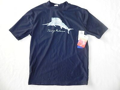 New Nwot Boys Medium Tommy Bahama Relax Navy Blue Rashguard Swim Shirt Sp +50