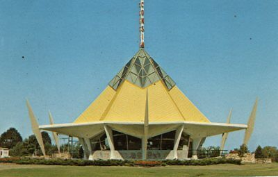 Original 1964 World's Fair WISCONSIN PAVILION POSTCARD Cheese WCCN Space Age