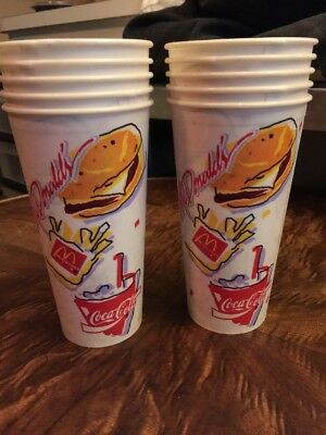 10 New UNUSED 1991 McDonalds Burger Coca-Cola COKE Large Waxed Paper Drink Cups