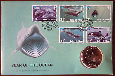 Isle of Man coin and stamp cover - Year of the Ocean 1998