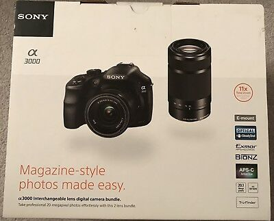 Sony Alpha A3000 DSLR Camera 20.1MP - Lens Bundle (E OSS 18-55mm / 55-210mm)