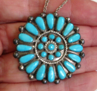 Vintage Sterling Silver Native Am Zuni Petit Point Cluster Turquoise Pin Pendant