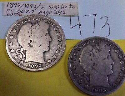 LOT OF 2 Barber Halves  1892 and 1905
