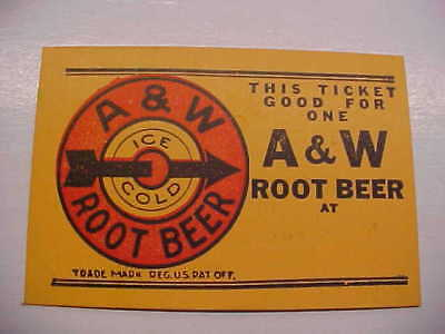 Good For One A&W ROOT BEER TIcket Token