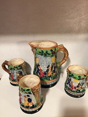 Unique Vintage Hand Crafted Earthenware Beer Pitcher And 3 Matching Steins