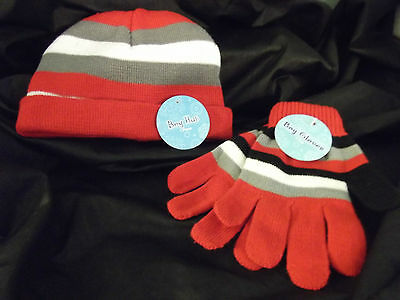 Boys Beanie Hat & Gloves Set-NWT-Red, Black, Gray & White Stripes-One Size