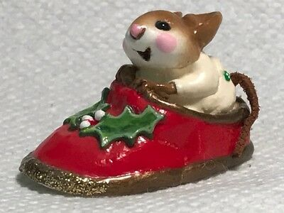 Wee Forest Folk Chris Mouse Slipper Red
