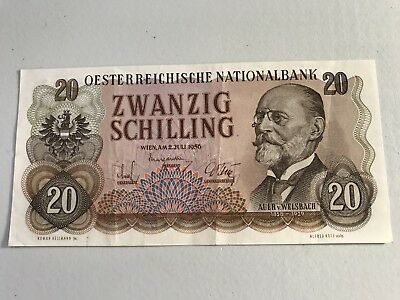 1956 Austria 20 Schilling world foreign banknote Excellent condition