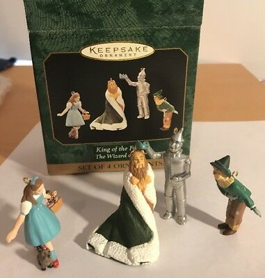 Wizard Of Oz, King Of The Forest Hallmark Set Of 4 Miniature Ornaments, 1997 NIB