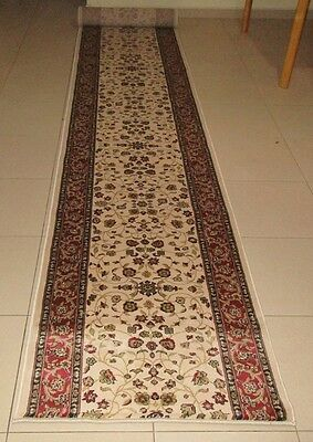 New Extra Long Cream Persian Design High Quality Hallway Runner Rug 80X500Cm