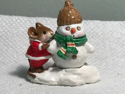 Wee Forest Folk Christmas Snow Buddies, red snowsuit green scarf