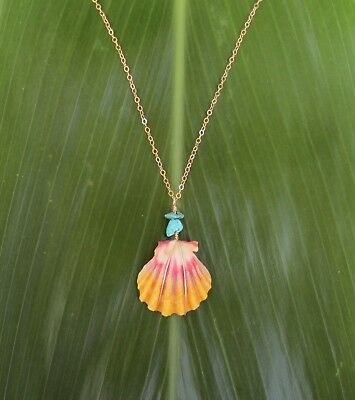 Genuine Hawaiian Sunrise Shell Necklace with Turquoise Stone Beads