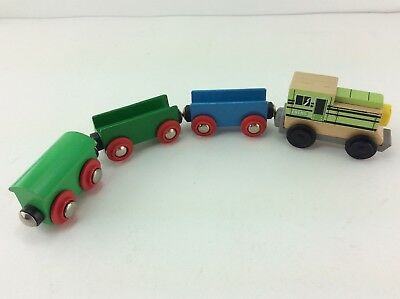 Wood Train Engine + 3 Cars Fits Brio Thomas & Friends Track