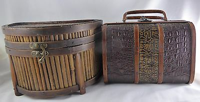 Two VTG  Rattan Wicker Bamboo Brown Wood Metal Basket Chest Purse Style