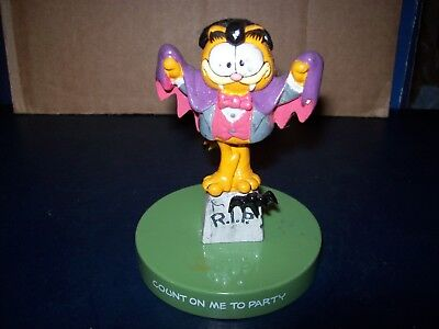 "Garfield Dracula Halloween Figure ""count On Me To Party"" Plastic Great Condition"