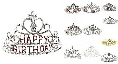 Happy Birthday Pink/Clear Crystal Rhinestone Birthday Tiara Crown Headband