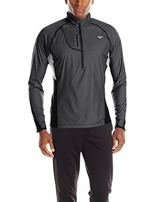 Mizuno Running Men's Breath Thermo Windtop Half Zip Hoody, Black/Glacier...