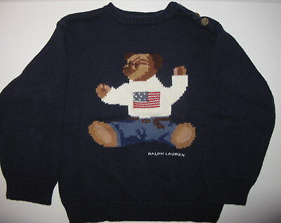 Used Polo Ralph Lauren Bear Flag Holiday Cotton Navy Sweater Size 4T 4 NWT