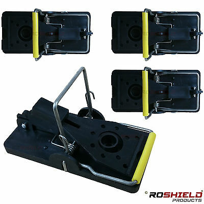 4 x ROSHIELD PLASTIC MOUSE SNAP TRAP - PROFESSIONAL TRAP FOR CONTROL OF MICE