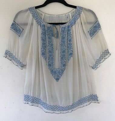 rare vintage 1930s hand embroidered blue hungarian folk art peasant blouse
