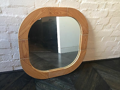 Vintage Retro Mirror Large Timber Rounded Square No. 2