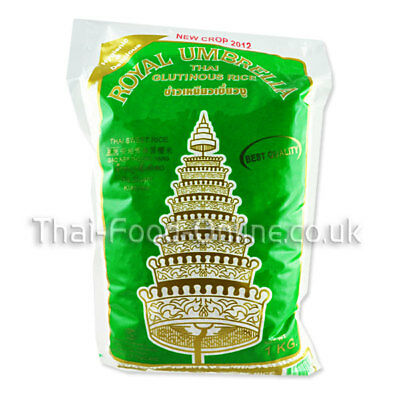 Authentic Thai Glutinous/Sticky Rice (1kg) by Royal Umbrella - UK Seller (R154)