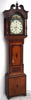 Shipping Antique English Longcase Clock Swan Neck Carved Case Grandfather Clock