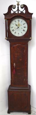 Rich Oak Antique English Longcase Clock - Carved Round Dial Grandfather Clock