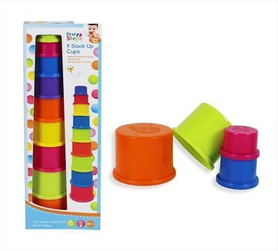9pc Building Beakers Nesting Cups Stacking Blocks Toddler Baby Bath Toy