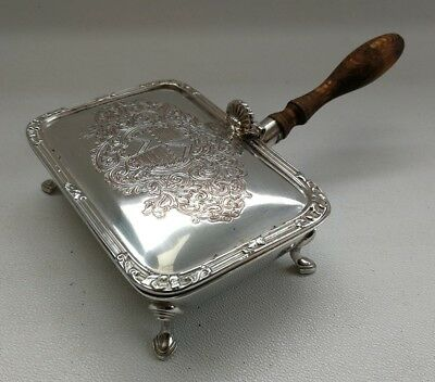 "Vtg Antique Silver Plate On Copper ""Silent Butler"" Lidded Crumb/Ash Tray C.1900"