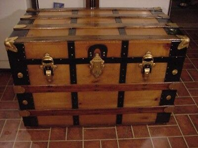 Ladycomet Refinished Flat Top Steamer Trunk Antique Chest With Key and Tray