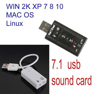 USB AUDIO SOUND CARD ADAPTER CABLE 3D VIRTUAL 7.1CH windows xp-10  linux Mac Os