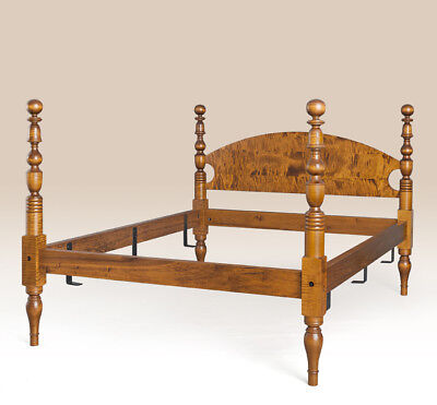 King Size Poster Bed Frame Handcrafted American Made Tiger Maple Wood Furniture