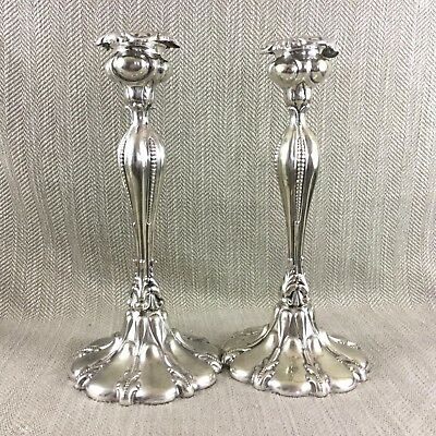 Pair of Antique Silver Plated Candlesticks Tall Ornate Victorian