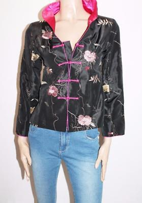 elDas Retro Black Floral Embroidered Satin Long Sleeve Jacket Size S #SJ05