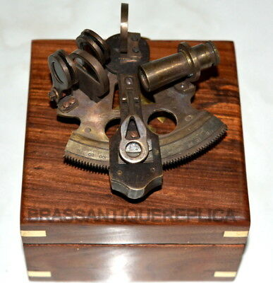 Antique Solid Brass Nautical Sextant Maritime Astrolabe Instrument w/ wooden box
