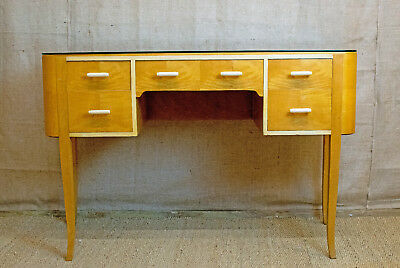 Art Deco satin birch side table, dressing table, kneehole with drawers,glass top