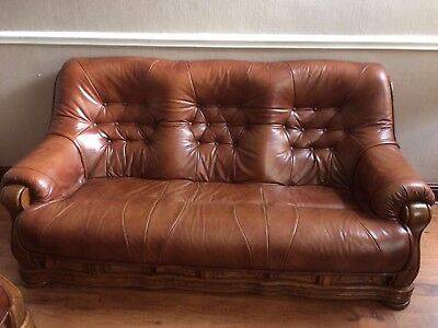 Brown leather 3 seater Sofa And Armchair