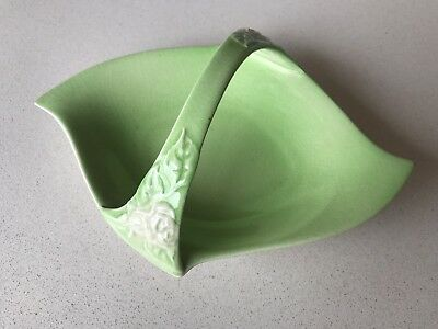 Vintage Royal Winton Green Candy Dish with White Rose Motif Handle
