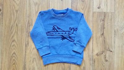 Next Baby Boys Blue Aeroplane Jumper Sweater Size 18-24 Months Worn Once!