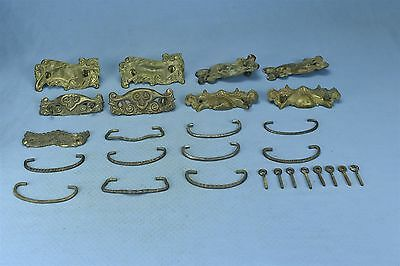 Antique MIXED LOT of 10 PRESSED BRASSDRAWER PULLS BAILS POSTS HARDWARE #03729