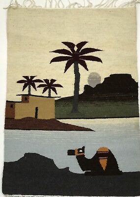 Vintage Egyptain Wool Tapestry Handmade In Siwa Egypt Camel and oasis