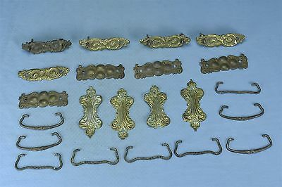 Antique MIXED LOT of 13 PRESSED BRASS BACK PLATES BAILS POSTS HARDWARE #03723