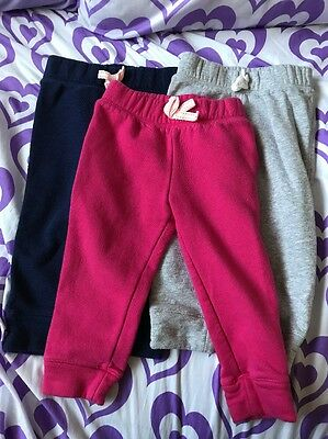 Toddler Girls Lot Of 3 Sweatpants Pink, Gray, Navy Blue Size 2T EUC