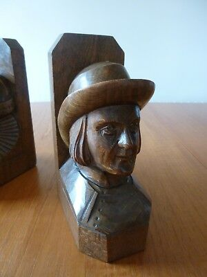 Arts and Crafts carved oak Bookends