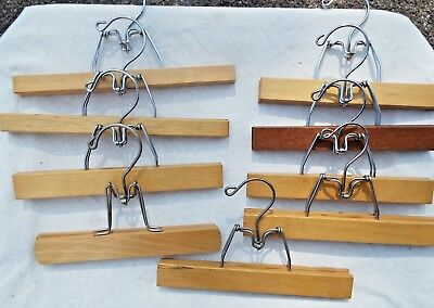 Vintage Lot of 9 Wood Pants Skirt Hangers Clamp Style- unmarked/unbranded